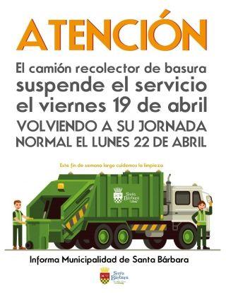 Suspende servicio de recolección de basura día 19 de abril